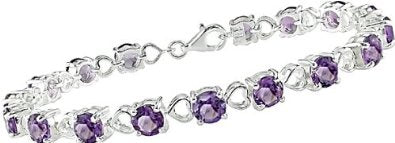 Amethyst and Heart Link Bracelet in Sterling Silver - 01BR27