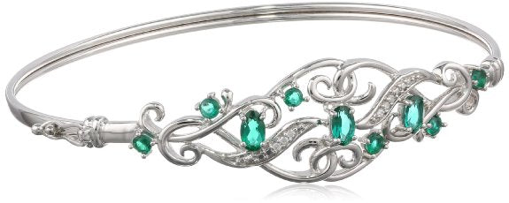 Sterling Silver Gemstone and Cubic-Zirconia Bangle Bracelet - 01BR30