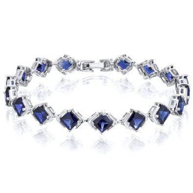 Princess Cut Created Sapphire Bracelet in Sterling Silver - 01BR35