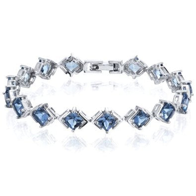 Princess Cut London Blue Topaz Gemstone Bracelet in Sterling Silver - 01BR36
