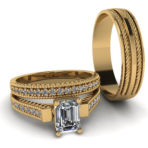 1.32ct Emerald Cut Diamond Gold Complete Wedding Set - 01BS41E
