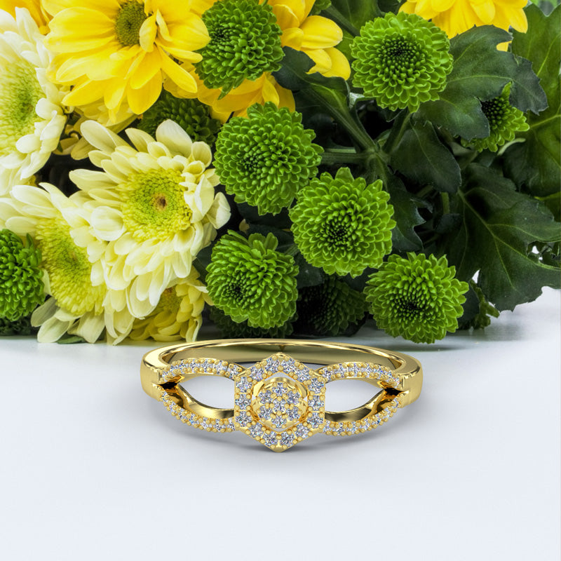 Gold Engagement Ring - 01DS04
