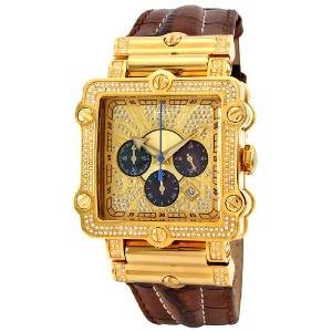 "JBW Men's ""Phantom"" Brown Diamond And Gold Bezel Leather Band Watch - 01JB11"