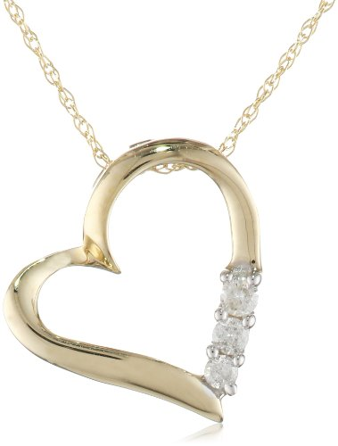 Gold  3-Stone Heart Pendant Necklace