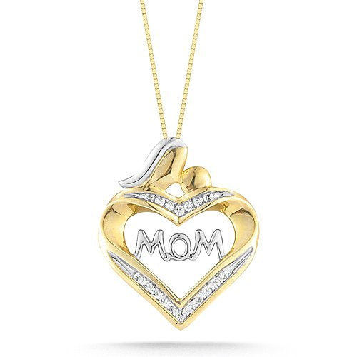 "Yellow Gold Heart with Diamonds ""MOM"" Pendant Necklace"