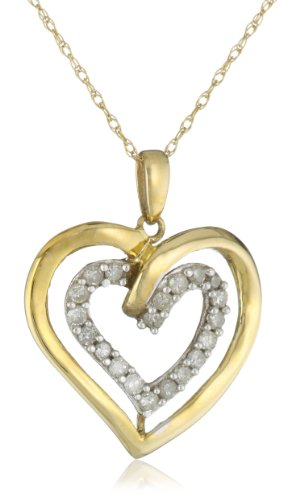Yellow Gold Diamond Double Heart Pendant