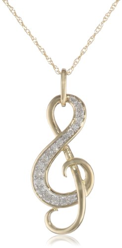 Yellow Gold Diamond Music Note Pendant Necklace