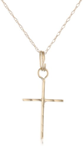 Yellow Gold Polished Diamond-Cut Thin Cross Pendant Necklace