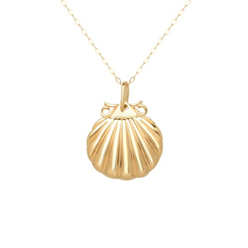 Yellow Gold Small Sea Shell Pendant Necklace
