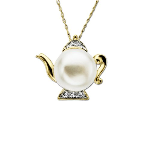 Yellow Gold Freshwater Cultured Pearl and Diamond Teapot Pendant Necklace