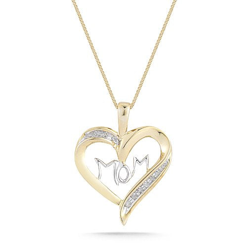 "Yellow Gold with Diamonds ""MOM"" Heart Pendant Necklace"