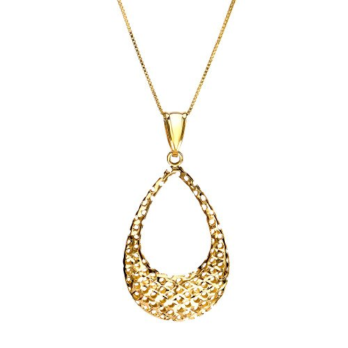 Yellow Gold Diamond Cut Open Oval Pendant Necklace