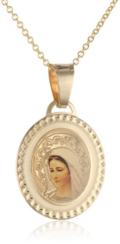 Yellow Gold Blessed Virgin Mary Oval Picture Medal Necklace