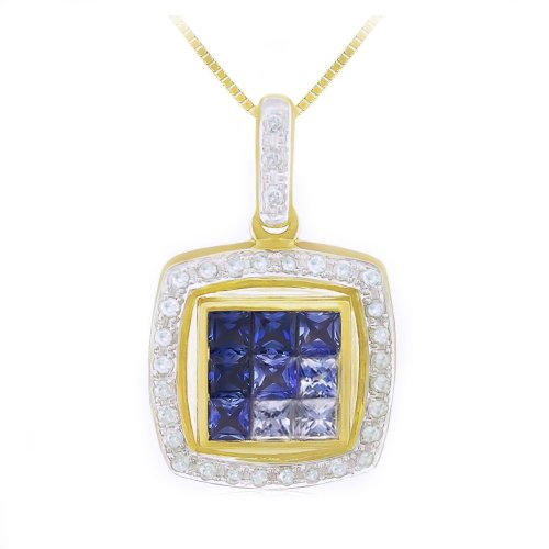 Yellow Gold Ceylon Sapphire and Diamond Pendant Necklace