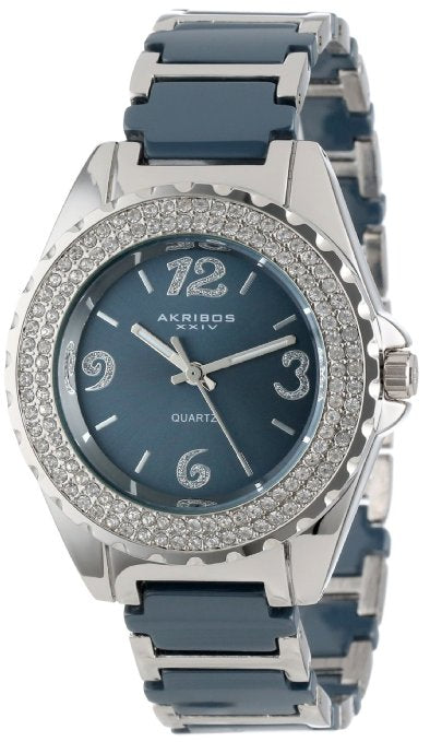 Akribos Women's Ceramic Crystal Bracelet Watch - 01RW15