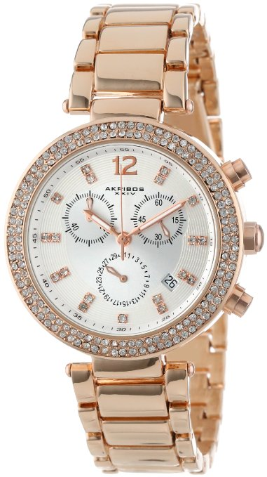 Akribos Women's Rose Gold-Tone Crystal-Accented Watch - 01RW17