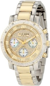 Akribos Women's Grandiose Dazzling Diamond Chronograph Stainelss Steel Bracelet Watch - 01RW18