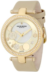 Akribos Women's Diamond Gold Sunray Diamond Dial Quartz Strap Watch - 01RW19