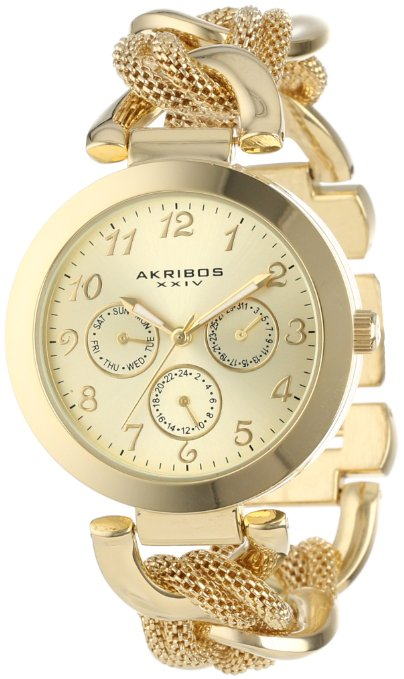 Akribos Women's Multi-Function Mesh Link Bracelet Watch - 01RW20