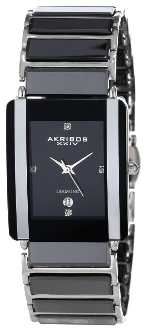 Akribos Men's Ceramic Rectangular Quartz Bracelet Watch - 01RW21
