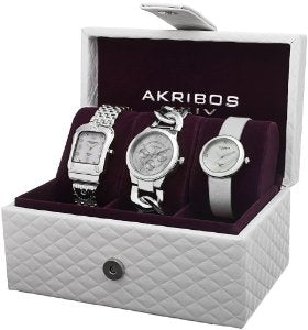 Akribos Women's Diamond Accented Silver-Tone 3 Watch Box Set - 01RW22