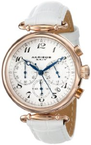 Akribos Women's Rose-Tone Stainless Steel and White Leather Watch - 01RW23