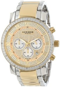 Akribos Men's Grandiose Diamond Quartz Chronograph Gold Dial Watch - 01RW24