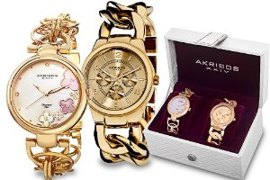Akribos Yellow Gold Tone Ladies Watch Set - 01RW25