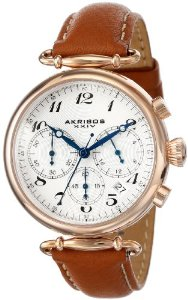 Akribos Women's Rose-Tone Stainless Steel and Brown Leather Strap Watch - 01RW26