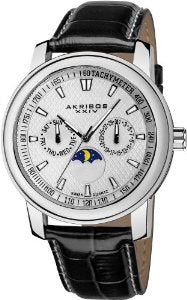 Akribos Men's Ultimate Swiss Quartz Moon Phase Multi-function Leather Strap Watch - 01RW28