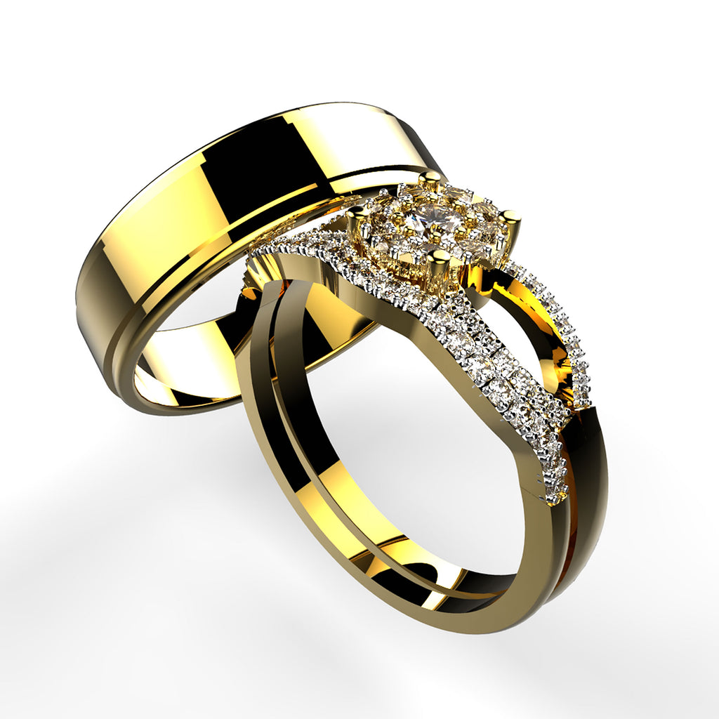 Gold Trio Wedding Set - 01SD03