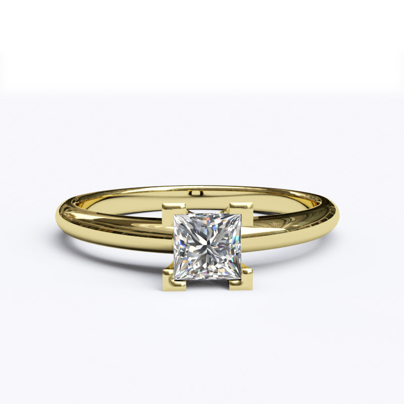 Solitaire Gold Engagement Ring with 0.35ct Princess Cut Diamond - 01SG04
