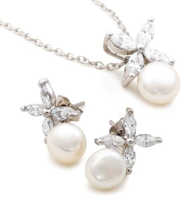 Platinum Plated Sterling Silver Freshwater Cultured Pearl Earrings and Pendant Necklace Set - 01SS01