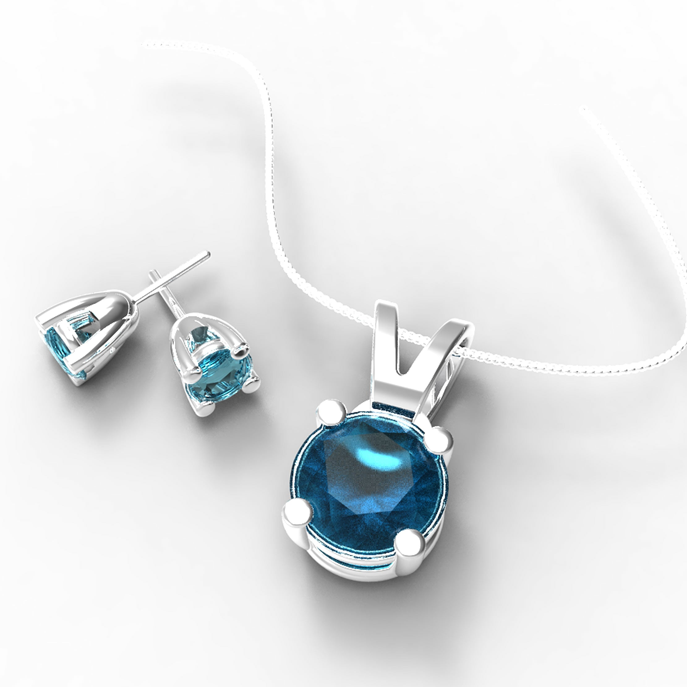Blue Diamond Necklace and Earring Set - 01SS02