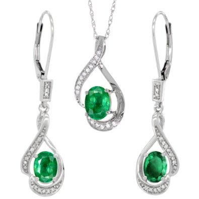 Gold Natural Emerald Stone Lever Back Earrings & Pendant Set - 01SS04