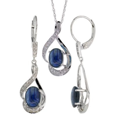 White Gold Dangle Earrings (19mm tall) & 18 in. Pendant-Necklace Set with 0.20 Carat Brilliant Cut Diamonds & 3.64 Carats Oval Cut (7x5mm) Blue Sapphire Stones - 01SS05