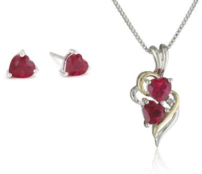 Sterling Silver and 14k Yellow Gold Created Ruby Heart Pendant Necklace and Earrings Set - 01SS06