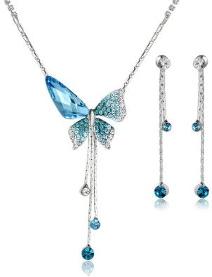 Butterfly Sunburst Crystal Necklace and Earring Set Various Color - 01SS07
