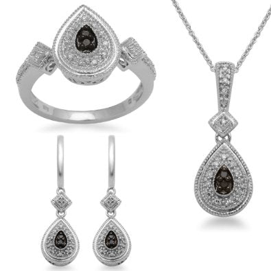 Sterling Silver Black and White Diamond Ring, Pendant Necklace and Earrings Box Set  - 01SS08