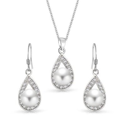 925 Silver Genuine Freshwater Pearl Teardrop Earrings and Necklace Set  - 01SS09