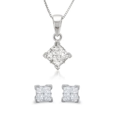 Invisible-Set Diamond Stud Earrings & Pendant Box set - 01SS10