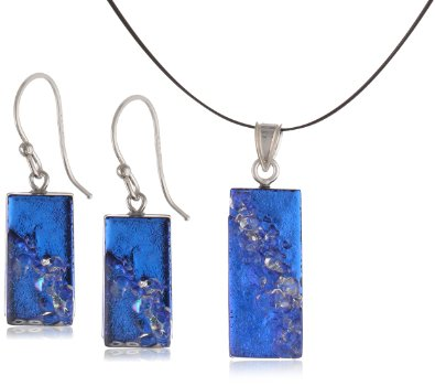 Sterling Silver Dichroic Glass Blue with Clear Glass Sprinkles Rectangular Set - 01ss13