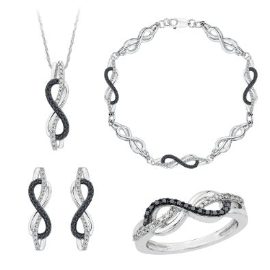 Sterling Silver, Black and White Diamond Infinity Jewelry Set (1 cttw) - 01SS14