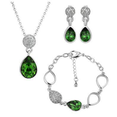 Rhinestone jewelry Sets Green Necklace, Bracelet & Earrings - 01SS17