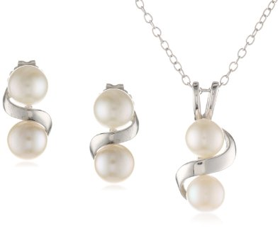 Sterling Silver Freshwater Cultured Pendant Necklace and Earrings Set - 01SS19