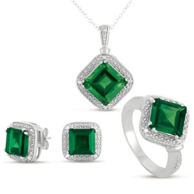 Emerald Gem Earrings and Pendant Necklace Set - 01SS20