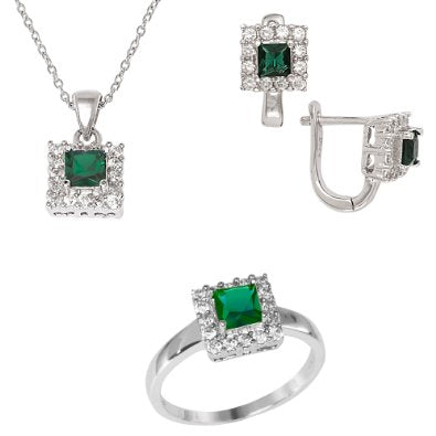 Created Emerald and Diamond Jewelry Set - 01SS29