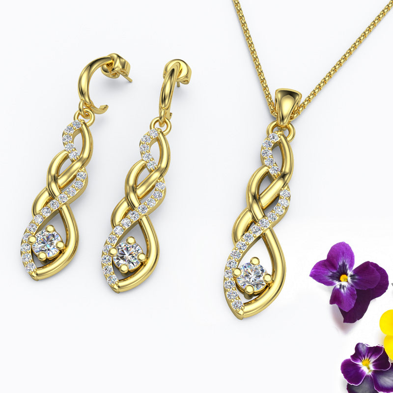 Gold Diamond Twist Earrings and Pendant Necklace - 01SS43