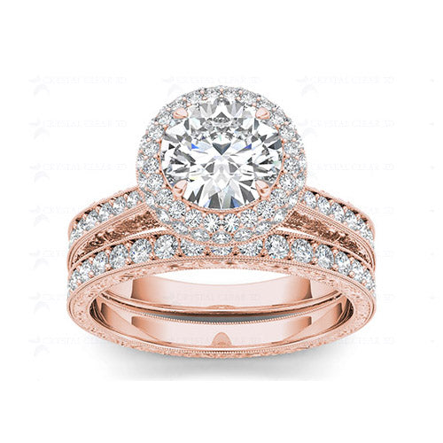 2.0ct Brilliant Diamond Halo Gold Bridal Set - 01US06