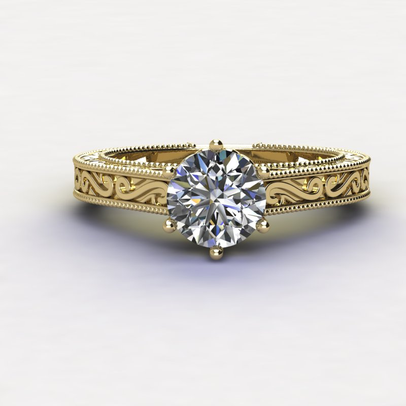 1.0ct Brilliant Diamond Vintage Gold Wedding Ring  - 01US09
